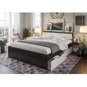 Кровать 1200 с ящиками «Гармония КР 606». Венге - Дуб Белфорт