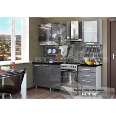 Кухонный гарнитур 16м «Лондон» Чёрный мрамор Серый – Титан чёрный