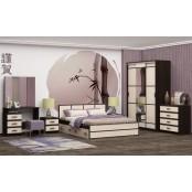 Модульный спальный гарнитур «Сакура» Венге – Лоредо. Композиция №1