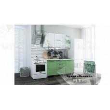Кухонный гарнитур 15м «Бьянка» Белый – Салатовые блёстки