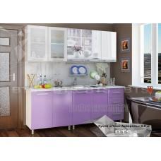 Кухонный гарнитур 2м «Люкс Акварель» Серый – Лиловый сад