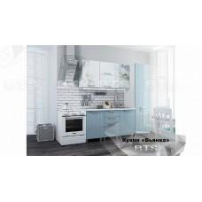 Кухонный гарнитур 21м «Бьянка» Белый – Голубые блёстки