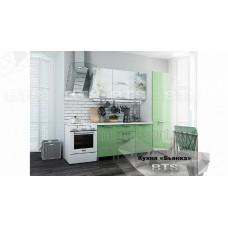 Кухонный гарнитур 21м «Бьянка» Белый – Салатовые блёстки