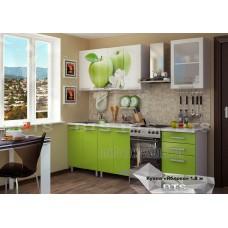 Кухонный гарнитур 18м «Яблоко» Серый – Лайм глянец