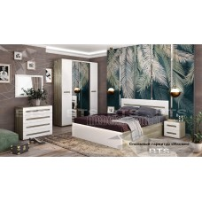 Модульный спальный гарнитур «Наоми Дуб Каньон – Белый глянец. Композиция №2